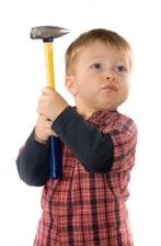 bad temper - boy with hammer