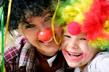 patch adams - clown woman and child
