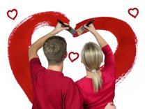sweet love quotes - couple painting a red heart