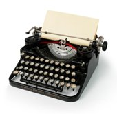 return to laughter - old fashioned typewriter