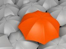laughter in the rain - orange umbrella