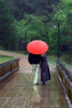 kissing bridge - under umbrella